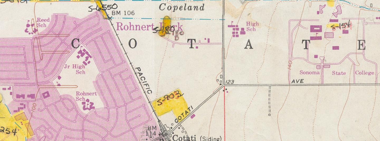 View of 1954 (pr 1980) Cotati quadrangle